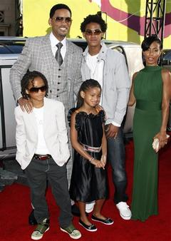 In this June 30, 2008 file photo, from back row left, actor Will Smith, his son Trey Smith, wife Jada Pinkett-Smith, their son Jaden Smith, front left, and their daughter Willow Smith arrive at the &quot;Hancock&quot; premiere in Los Angeles.  (AP Photo/Matt Sayles, file)