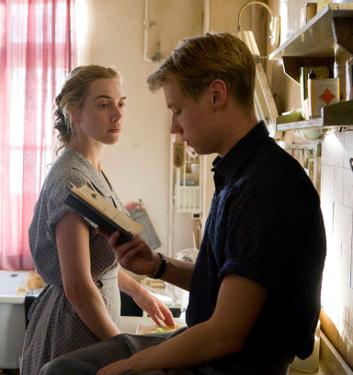 "Kate Winslet as Hanna Schmitz and David Kross as Michael in ""The Reader."""