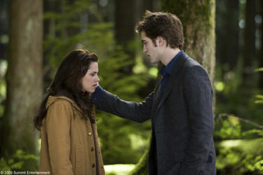 "Kristen Stewart as Bella and Robert Pattinson as Edward in ""The Twilight Saga: New Moon."""