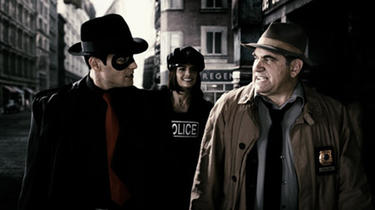 "The Spirit (Gabriel Macht), Morgenstern (Stana Katic) and Dolan (Dan Lauria) in ""The Spirit."""