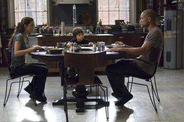 "Alice Braga, Charlie Tahan and Will Smith in ""I Am Legend."""