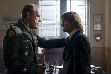 "Powers Boothe as Colonel Faith and Will Forte as MacGruber in ""MacGruber."""