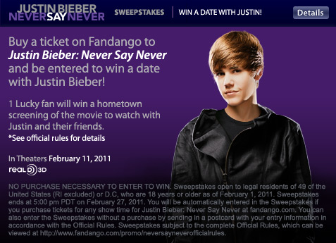 Justin Bieber: Never Say Never Sweepstakes