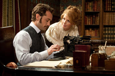 """Jude Law and Geraldine James in """"Sherlock Holmes: A Game of Shadows."""""""