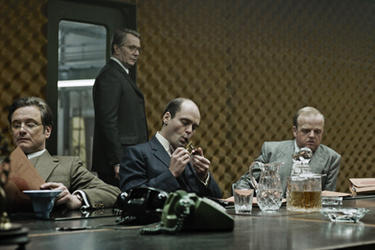 Colin Firth, Gary Oldman, David Dencik and Toby Jones in &quot;Tinker Tailor Soldier Spy.''