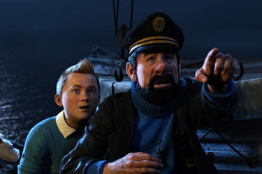 Tintin and Captain Haddock in ``The Adventures of Tintin.''