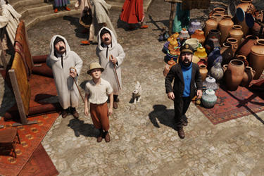 Thompson, Tintin, Thomson, Snowy and Captain Haddock in ``The Adventures of Tintin.''