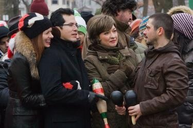 "John Leguizamo, Elizabeth Pena, Debra Messing and Freddy Rodriguez in ""Nothing Like the Holidays."""