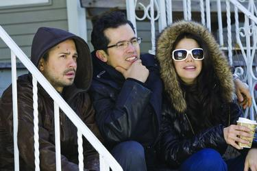 "John Leguizamo, Freddy Rodriguez and Vanessa Ferlito in ""Nothing Like the Holidays."""