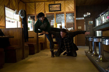 "Gina Carano and Channing Tatum in ""Haywire."""