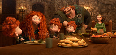 "Harris, Merida, Hubert, Hamish, King Fergus and Queen Elinor in ""Brave."""