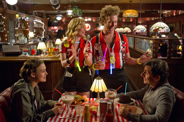 "Keira Knightley as Penny, Gillian Jacobs as Katie, T.J. Miller as Darcy and Steve Carell as Dodge in ""Seeking a Friend for the End of the World."""