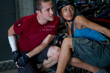 "Joseph Gordon-Levitt and Dania Ramirez in ""Premium Rush."""