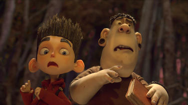 "Norman voiced by Kodi Smit-McPhee and Alvin voiced by Christopher Mintz-Plasse in ""ParaNorman."""