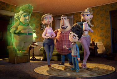 "Grandma Babcock voiced by Elaine Stritch, Sandra Babcock voiced by Leslie Mann, Perry Babcock voiced by Jeff Garlin, Norman voiced by Kodi Smit-McPhee and Courtney voiced by Anna Kendrick in ""ParaNorman."""