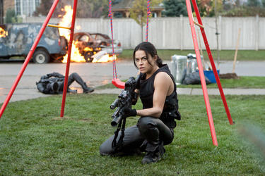 "Michelle Rodriguez as Rain in ""Resident Evil: Retribution."""