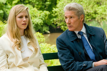 "Brit Marling and Richard Gere in ""Arbitrage."""