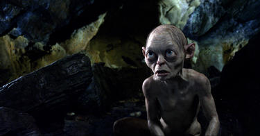 "Gollum voiced by Andy Serkis in ""The Hobbit: An Unexpected Journey."""