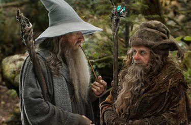 "Ian McKellen as Gandalf and Sylvester McCoy as Radagast in ""The Hobbit: An Unexpected Journey."""