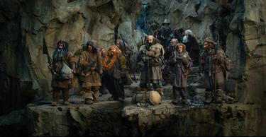 "William Kircher as Bifur, James Nesbitt as Bofur, Jed Brophy as Nori, Stephen Hunter as Bombur, John Callen as Oin, Graham McTavish as Dwalin, Martin Freeman as Bilbo Baggins, Ian McKellen as Gandalf, Mark Hadlow as Dori, Adam Brown as Ori, Ken Stott as Balin, Peter Hambleton as Gloin in ""The Hobbit: An Unexpected Journey."""
