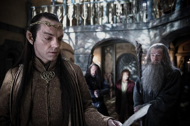 "Hugo Weaving as Elrond, Richard Armitage as Thorin Oakenshield, Martin Freeman as Bilbo Baggins and Ian McKellen as Gandalf in ""The Hobbit: An Unexpected Journey."""