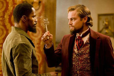 "Jamie Foxx and Leonardo DiCaprio in ""Django Unchained."""
