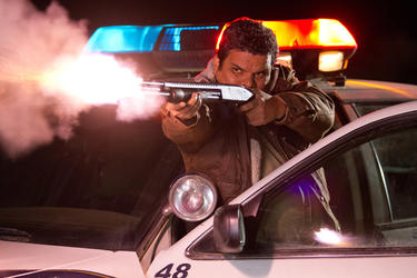 "Luis Guzman as Mike Figuerola in ""The Last Stand."""