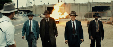 "Ryan Gosling as Sgt. Jerry Wooters, Michael Pena as Navidad Ramirez, Robert Patrick as Max Kennard, Josh Brolin as Sgt. John O'Mara and Anthony Mackie as Coleman Harris in ""Gangster Squad."""