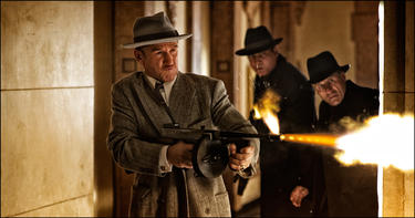 "Sean Penn as Mickey Cohen and Holt McCallany as Karl Lockwood in ""Gangster Squad."""