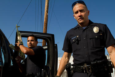 "Michael Pena and Jake Gyllenhaal in ""End of Watch."""