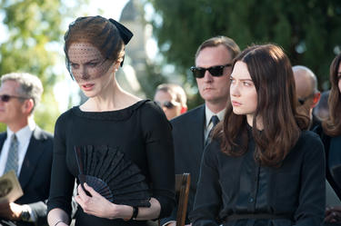 "Nicole Kidman as Evie Stoker and Mia Wasikowska as India Stok in ""Stoker."""
