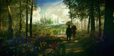 "James Franco as Oscar Diggs and Mila Kunis as Theodora in ""Oz: The Great and Powerful."""
