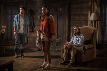 "Shiloh Fernandez, Jessica Lucas and Lou Taylor Pucci in ""Evil Dead."""