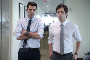 Zachary Quinto as Peter Sullivan and Penn Badgley as Seth Bregman in ``Margin Call.''