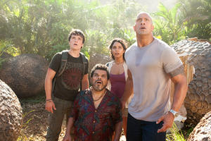Josh Hutcherson as Sean, Luis Guzman as Gabato, Vanessa Hudgens as Kailani and Dwayne Johnson as Hank in ``Journey 2: The Mysterious Island.&#39;&#39;