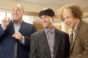 Will Sasso as Curly, Chris Diamantopoulos as Moe and Sean Hayes as Larry in``The Three Stooges.&#39;&#39;