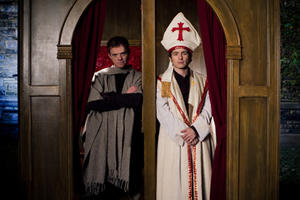 Justin Welborn as The Pope and Marshall Allman as Donald Miller in ``Blue Like Jazz.&#39;&#39;