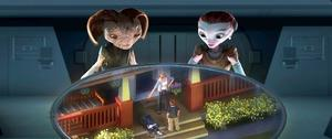 "Supervisor, Milo, Milo's Mom and Ki in ""Mars Needs Moms."""