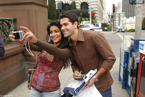 Shriya Saran as Priya and Jesse Metcalfe as Granger in &quot;The Other End of the Line.&quot;