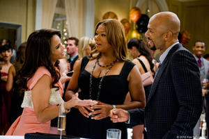 "Paula Patton as Morgan Alexander, Queen Latifah as Leslie Wright and Common as Scott McKnight in ""Just Wright."""