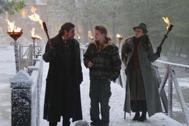 "Alexander Ludwig and Ian McShane in ""The Seeker: The Dark is Rising."""