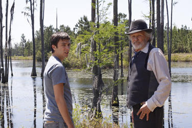 Reece Thompson as Fleming Bloodworth and Kris Kristofferson as E. F. Bloodworth in ``Bloodworth.&#39;&#39;