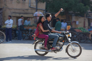 Tena Desae as Sunaina and Dev Patel as Sonny in ``The Best Exotic Marigold Hotel.&#39;&#39;