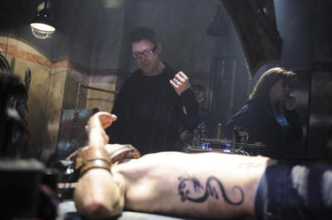 Director David Hackl and Joris Jarsky on the set of &quot;Saw V.&quot;