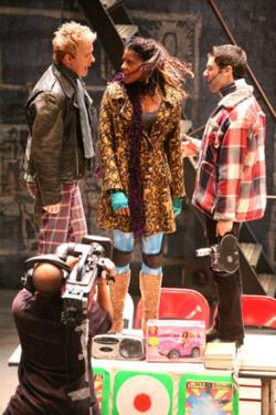 Will Chase as Roger, Renee Elise Goldsberry as Mimi and Adam Kantor as Mark in &quot;Rent Filmed Live on Broadway.&quot;