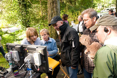 Director Jodie Foster and Mel Gibson on the set of &quot;The Beaver.&quot;
