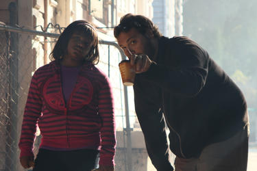 Tione Johnson and director Leone Marucci on the set of &quot;The Power of Few.&quot;