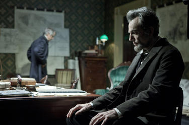 David Strathairn as William Seward and Daniel Day-Lewis as president Abraham Lincoln in &quot;Lincoln.&quot;