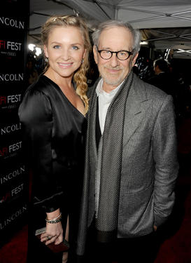 "Jessica Capshaw and director/producer Steven Spielberg at the California premiere of ""Lincoln."""