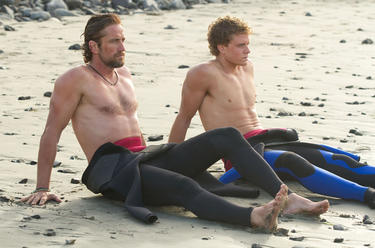 Gerard Butler as Frosty Hesson and Jonny Weston as Jay Moriarity in &quot;Chasing Mavericks.&quot;